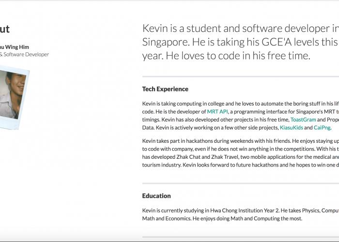 Personal Portfolio – Kevin Chu