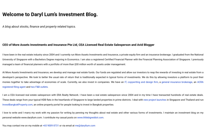Daryl Lum's Investment Blog