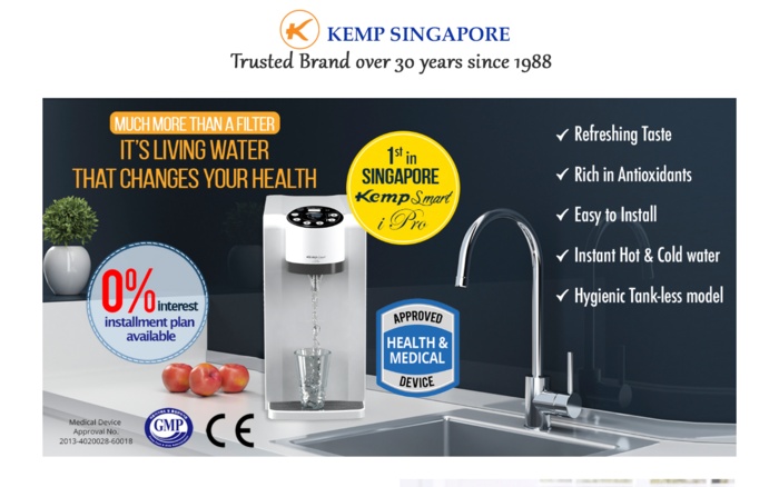 Kemp Smart iPro, Singapore's first hot and cold water ionizer!