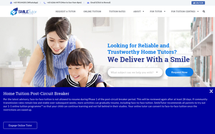 SmileTutor: #1 Trusted Home Tuition Agency in Singapore