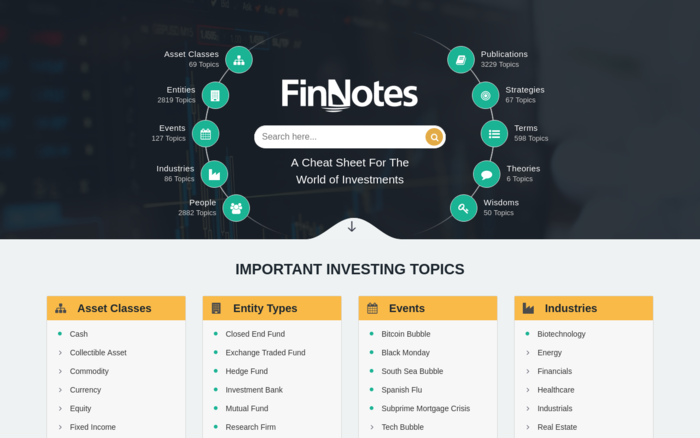 FinNotes – A cheat sheet for the world of investments.